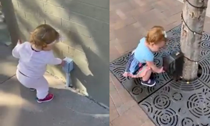Очаровательное видео малышки, которая думает, что всё - это дозатор геля